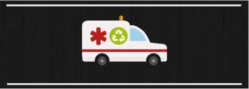 Graphic of an ambulance with a recycling logo on the side
