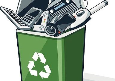 illustration of electronics recyclables in recycling bin